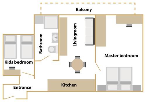 Tloris manjšega apartmaja